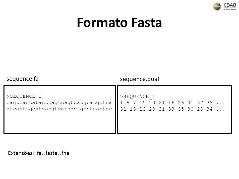 Formato Fasta >SEQUENCE_1 cagtcagcatactcagtcagtcatgcatgctga gtcacttgcatgacgtcatgactgcatgactgc sequence.fa Extensões:.fa,.fasta,.fna >SEQUENCE_1 1 9 7