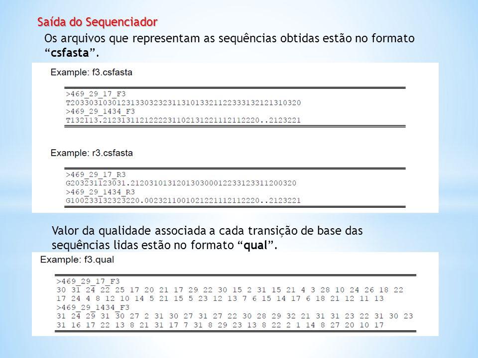 Saída do Sequenciador Os arquivos que representam as sequências obtidas estão no formatocsfasta. Valor da qualidade associada a cada transição de base