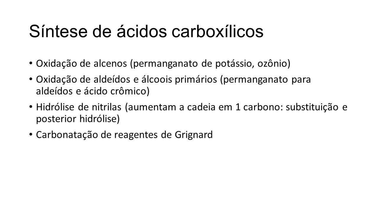 Síntese de ácidos carboxílicos Oxidação de alcenos (permanganato de potássio, ozônio) Oxidação de aldeídos e álcoois primários (permanganato para alde