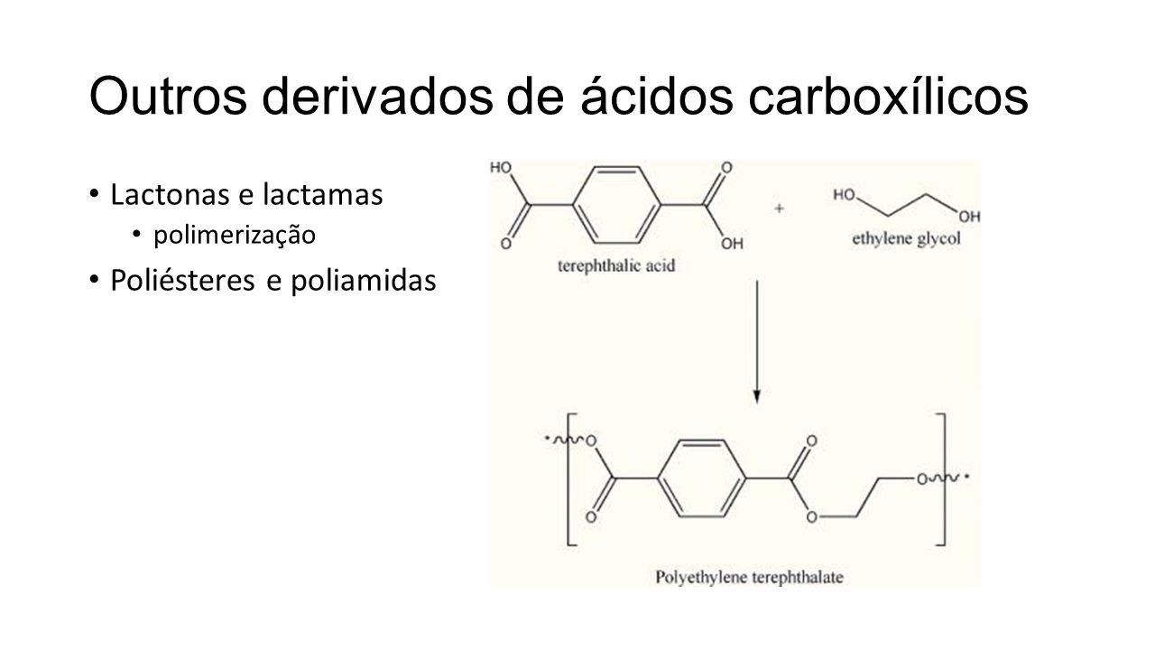 Outros derivados de ácidos carboxílicos Lactonas e lactamas polimerização Poliésteres e poliamidas