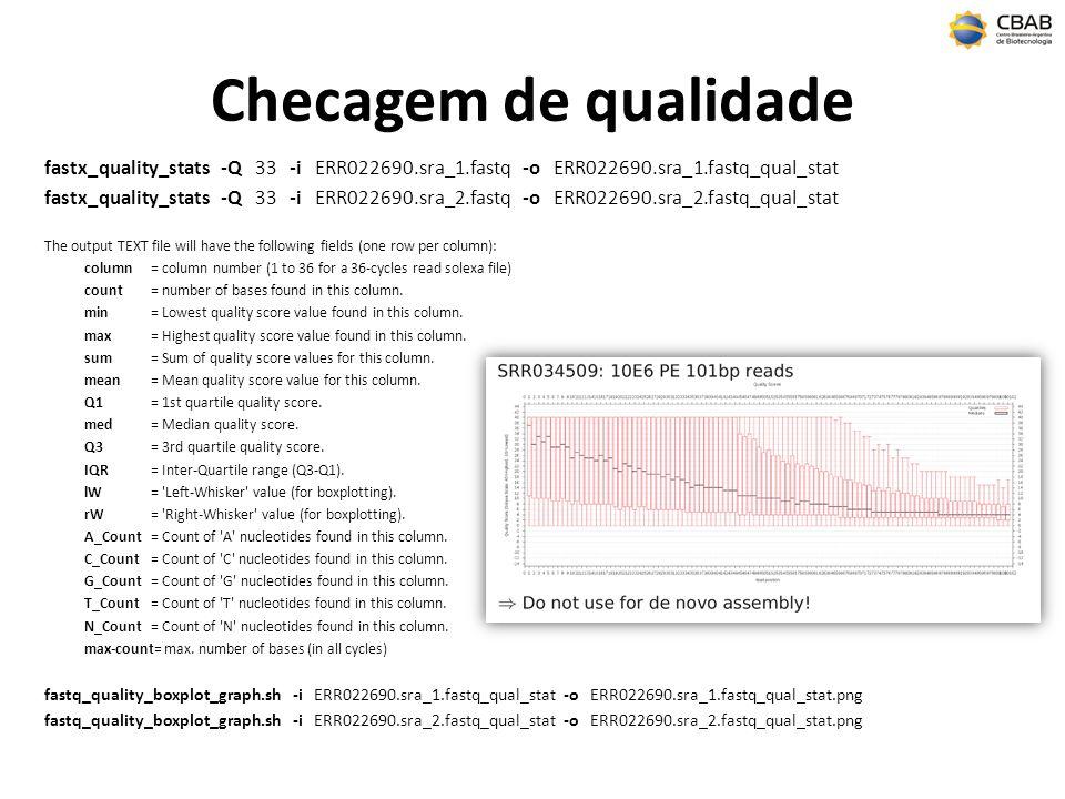 Checagem de qualidade fastx_quality_stats -Q 33 -i ERR022690.sra_1.fastq -o ERR022690.sra_1.fastq_qual_stat fastx_quality_stats -Q 33 -i ERR022690.sra