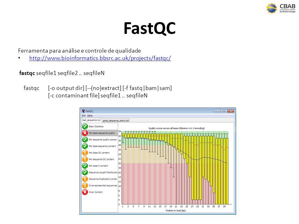 FastQC Ferramenta para análise e controle de qualidade http://www.bioinformatics.bbsrc.ac.uk/projects/fastqc/ fastqc seqfile1 seqfile2.. seqfileN fast
