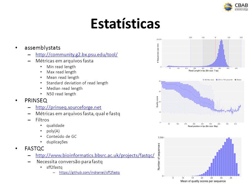 Estatísticas assemblystats – http://community.g2.bx.psu.edu/tool/ http://community.g2.bx.psu.edu/tool/ – Métricas em arquivos fasta Min read length Ma