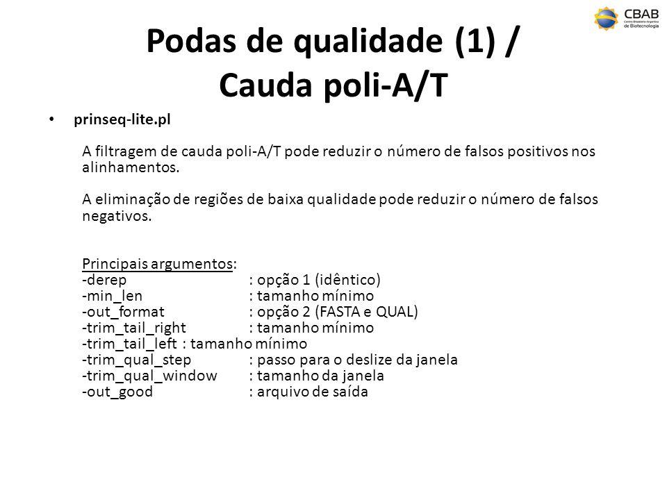 Podas de qualidade (1) / Cauda poli-A/T prinseq-lite.pl A filtragem de cauda poli-A/T pode reduzir o número de falsos positivos nos alinhamentos. A el