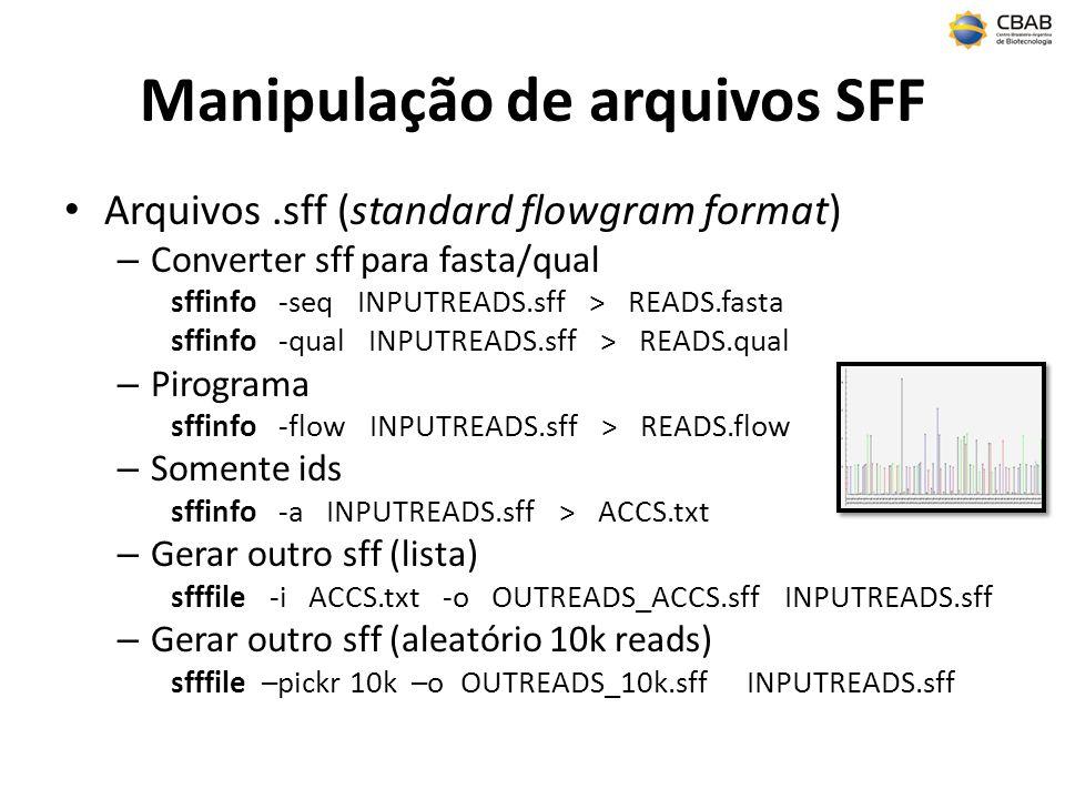 Manipulação de arquivos SFF Arquivos.sff (standard flowgram format) – Converter sff para fasta/qual sffinfo -seq INPUTREADS.sff > READS.fasta sffinfo