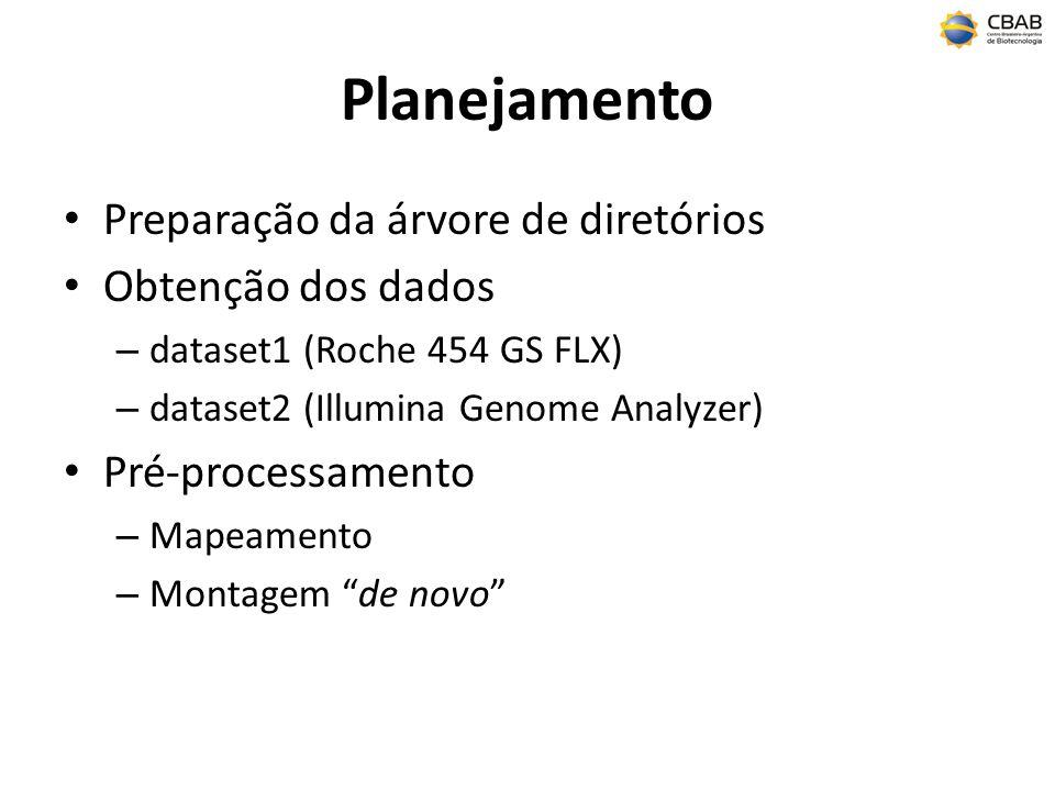 Planejamento Preparação da árvore de diretórios Obtenção dos dados – dataset1 (Roche 454 GS FLX) – dataset2 (Illumina Genome Analyzer) Pré-processamen