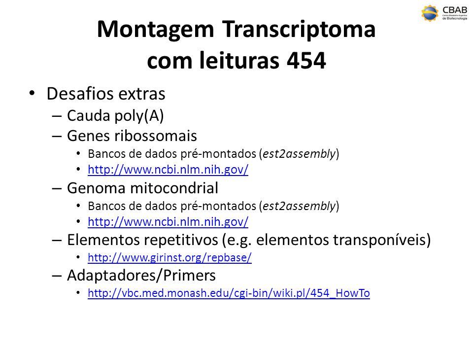 Montagem Transcriptoma com leituras 454 Desafios extras – Cauda poly(A) – Genes ribossomais Bancos de dados pré-montados (est2assembly) http://www.ncb