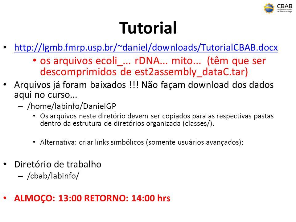Tutorial http://lgmb.fmrp.usp.br/~daniel/downloads/TutorialCBAB.docx os arquivos ecoli_... rDNA... mito... (têm que ser descomprimidos de est2assembly