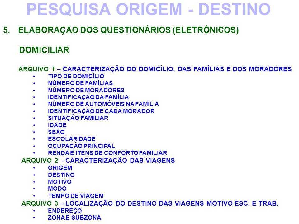 PESQUISA ORIGEM - DESTINO 5.ELABORAÇÃO DOS QUESTIONÁRIOS (ELETRÔNICOS) DOMICILIAR ARQUIVO 1 – CARACTERIZAÇÃO DO DOMICÍLIO, DAS FAMÍLIAS E DOS MORADORE