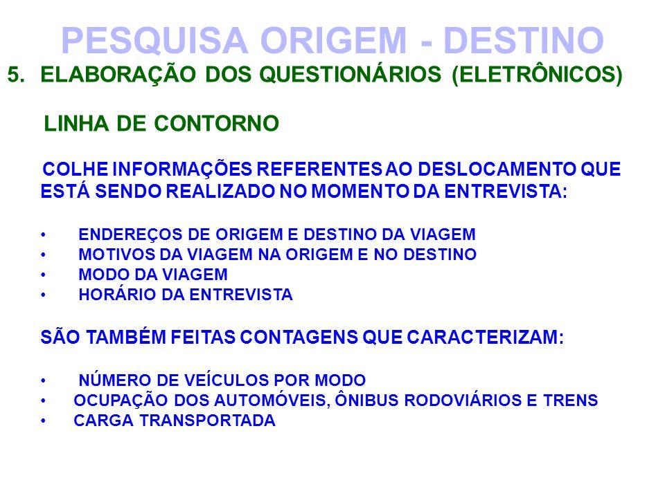PESQUISA ORIGEM - DESTINO 5.ELABORAÇÃO DOS QUESTIONÁRIOS (ELETRÔNICOS) LINHA DE CONTORNO COLHE INFORMAÇÕES REFERENTES AO DESLOCAMENTO QUE ESTÁ SENDO R