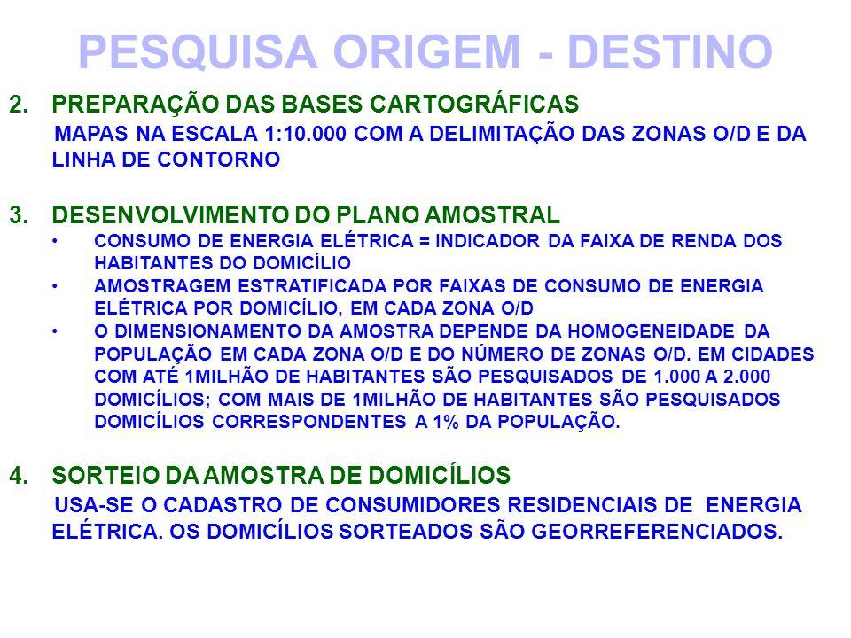 PRODUÇÃO DO MODELO DE SIMULAÇÃO DA DEMANDA DE VIAGENS MODELO DE QUATRO ETAPAS 1.GERAÇÃO DAS VIAGENS (ATRAÍDAS E PRODUZIDAS EM FUNÇÃO DAS CARACTERÍSTICAS DE CADA ZONA O/D) CORRELAÇÕES DE DADOS SÓCIOECONÔMICOS ( VARIÁVEIS INDEPENDENTES) COM AS VIAGENS REALIZADAS (VARIÁVEL DEPENDENTE), DETERMINANDO OS MODELOS (EQUAÇÕES) QUE RELACIONAM AS VIAGENS (EFEITOS), NO ANO BASE (B), COM AS CARACTERÍSTICAS SÓCIOECONÔMICAS (QUE CAUSAM AS VIAGENS), EM CADA ZONA O/D V B = f ( P B, E B, M B, R B...) V B = NÚMERO DE VIAGENS, NO ANO BASE, NA ZONA O/D P B= DENSIDADE DE POPULAÇÃO, NO ANO BASE, NA ZONA O/D E B= DENSIDADE DE EMPREGOS, NO ANO BASE, NA ZONA O/D M B= DENSIDADE DE MATRÍCULAS ESCOLARES, NO ANO BASE, NA ZONA O/D R B= RENDA MÉDIA FAMILIAR, NO ANO BASE, NA ZONA O/D 2 CALIBRAÇÃO DOS MODELOS DE SIMULAÇÃO PESQUISA ORIGEM - DESTINO