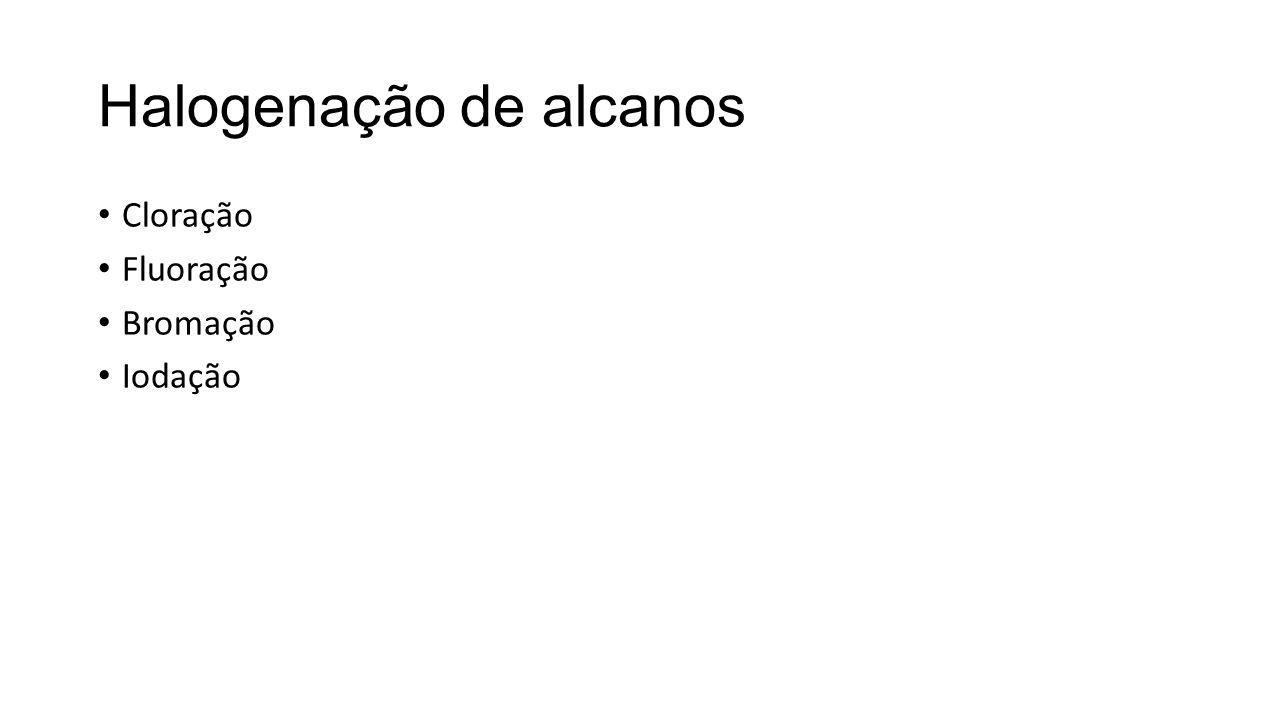Halogenação de alcanos Cloração Fluoração Bromação Iodação