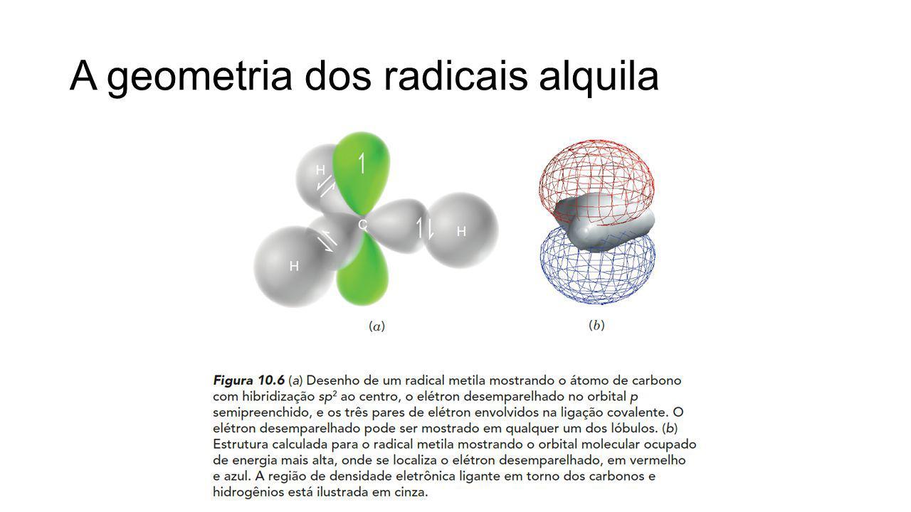 A geometria dos radicais alquila
