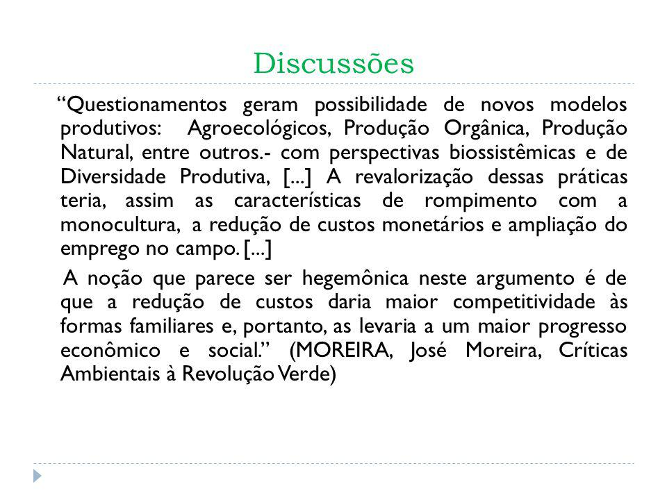 Discussões Questionamentos geram possibilidade de novos modelos produtivos: Agroecológicos, Produção Orgânica, Produção Natural, entre outros.- com pe