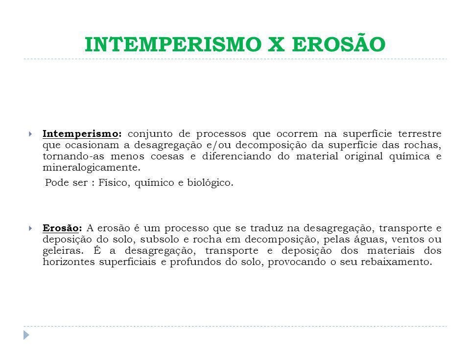 INTEMPERISMO X EROSÃO Intemperismo: conjunto de processos que ocorrem na superfície terrestre que ocasionam a desagregação e/ou decomposição da superf