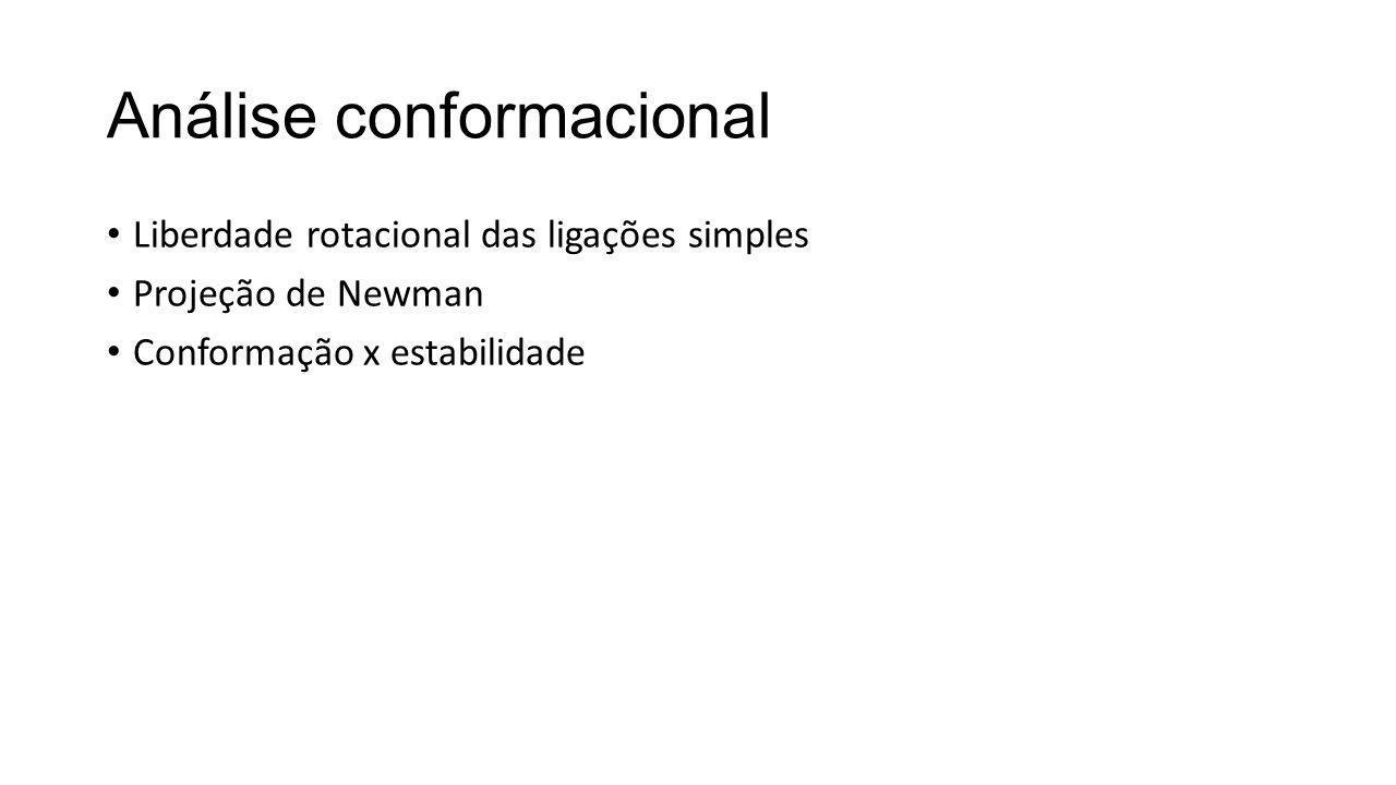 Análise conformacional Liberdade rotacional das ligações simples Projeção de Newman Conformação x estabilidade