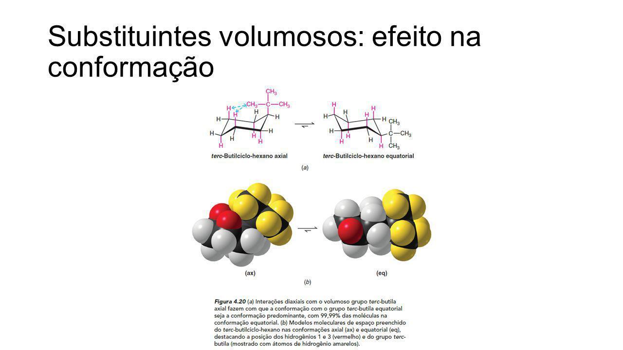 Substituintes volumosos: efeito na conformação