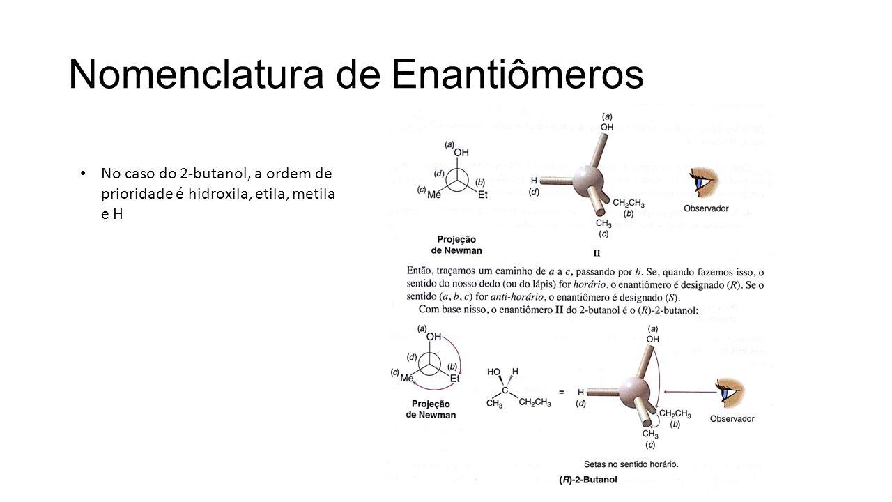 Nomenclatura de Enantiômeros No caso do 2-butanol, a ordem de prioridade é hidroxila, etila, metila e H