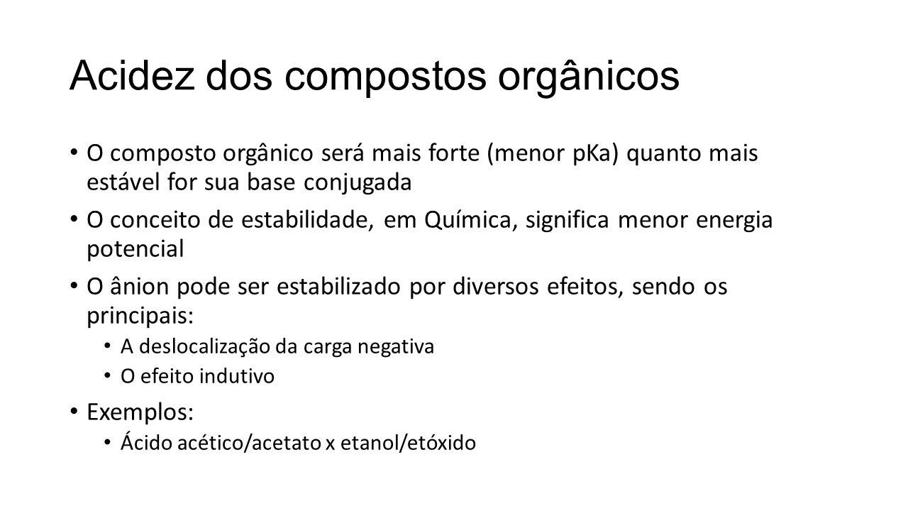 Acidez dos compostos orgânicos O composto orgânico será mais forte (menor pKa) quanto mais estável for sua base conjugada O conceito de estabilidade,
