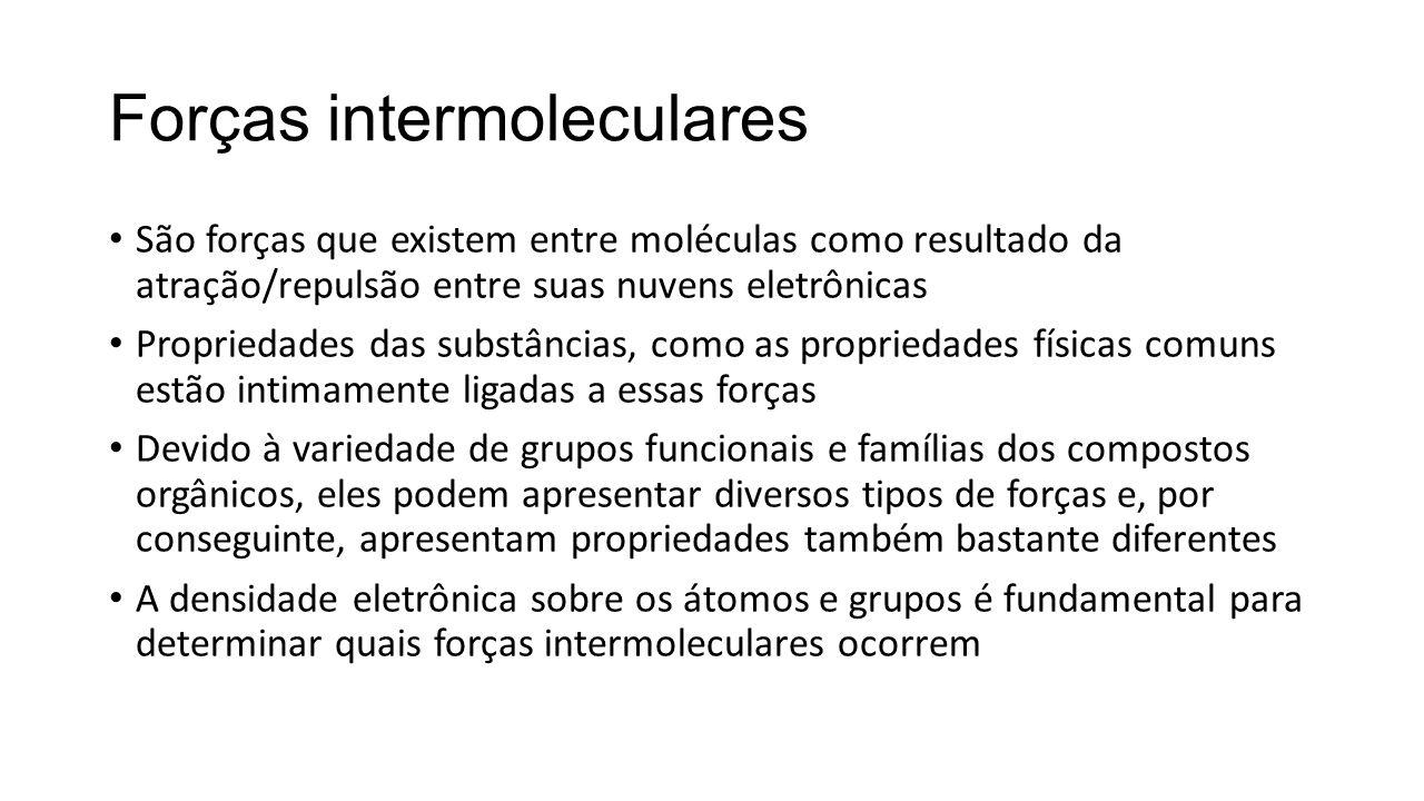 Forças intermoleculares São forças que existem entre moléculas como resultado da atração/repulsão entre suas nuvens eletrônicas Propriedades das subst