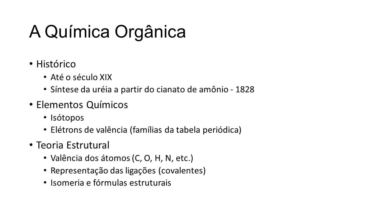 A Química Orgânica Histórico Até o século XIX Síntese da uréia a partir do cianato de amônio - 1828 Elementos Químicos Isótopos Elétrons de valência (