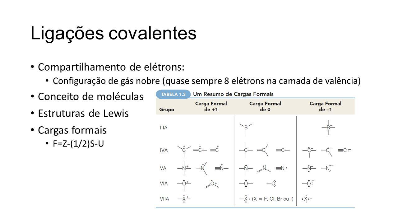 Teoria da Ressonância Mais de uma estrutura de Lewis pode ser escrita para algumas moléculas Cada uma dessas estruturas de ressonância, que existe apenas no papel, é uma estrutura válida e contribuirá parcialmente para a estrutura da molécula real, que é um híbrido de todas as estruturas de ressonância Estruturas de ressonância de uma mesma molécula diferem apenas pelo posicionamento dos elétrons Contribuição relativa de cada estrutura de ressonância Exemplos: carbonato, grupo funcional amida