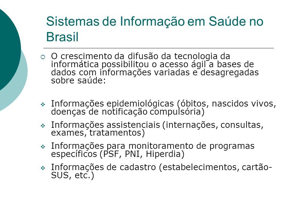 Sistemas de Informação em Saúde no Brasil O crescimento da difusão da tecnologia da informática possibilitou o acesso ágil a bases de dados com inform