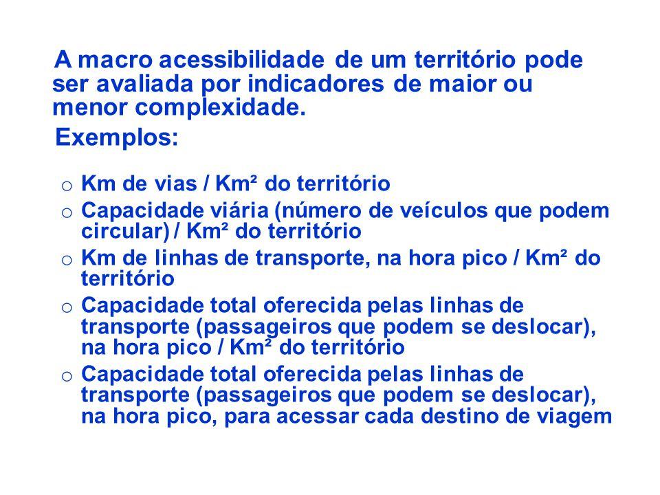 A macro acessibilidade de um território pode ser avaliada por indicadores de maior ou menor complexidade. Exemplos: o Km de vias / Km² do território o