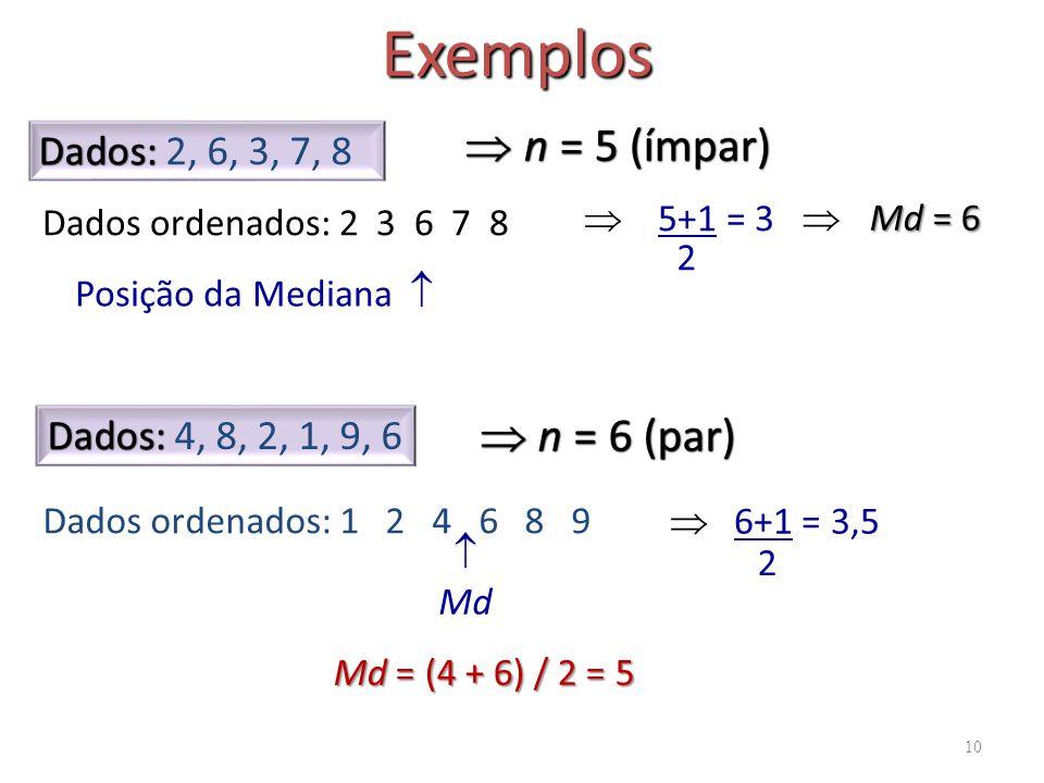10 Exemplos Dados: Dados: 2, 6, 3, 7, 8 Dados ordenados: 2 3 6 7 8 n = 5 (ímpar) n = 5 (ímpar) Posição da Mediana 5+1 = 3 2 Md = (4 + 6) / 2 = 5 Dados