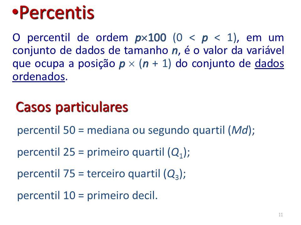 p 100p n pn O percentil de ordem p 100 (0 < p < 1), em um conjunto de dados de tamanho n, é o valor da variável que ocupa a posição p (n + 1) do conju