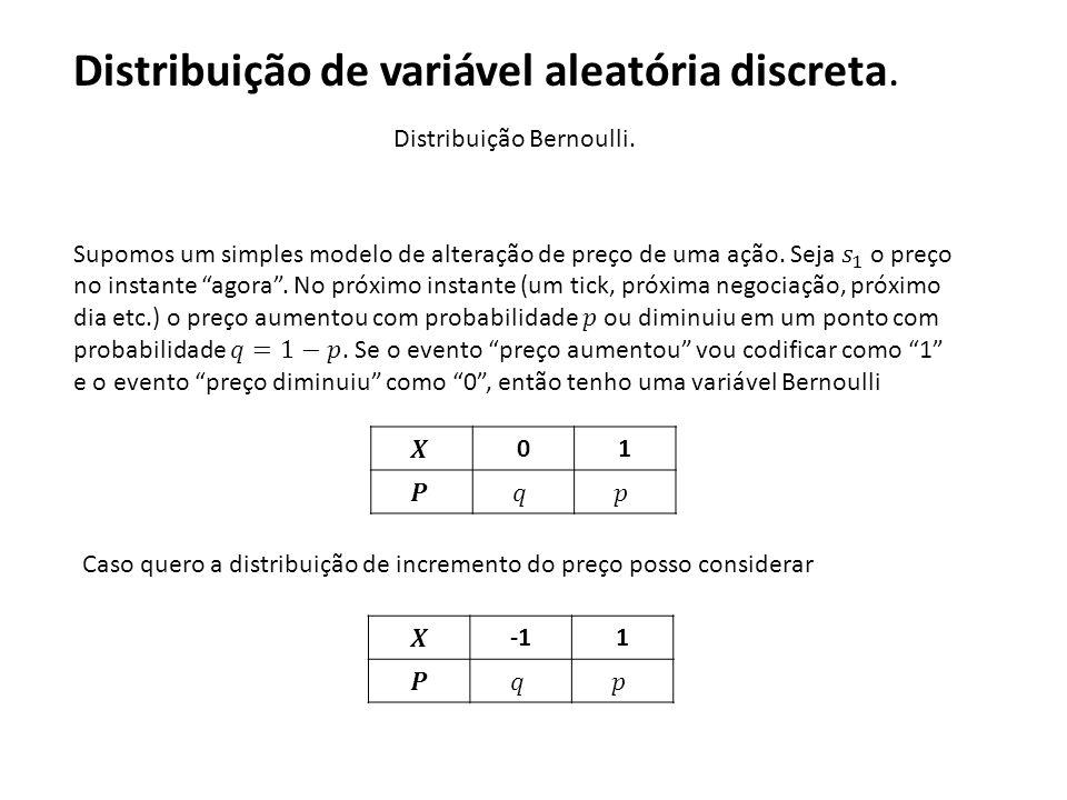 Distribuição Bernoulli. 01 Caso quero a distribuição de incremento do preço posso considerar 1 Distribuição de variável aleatória discreta.