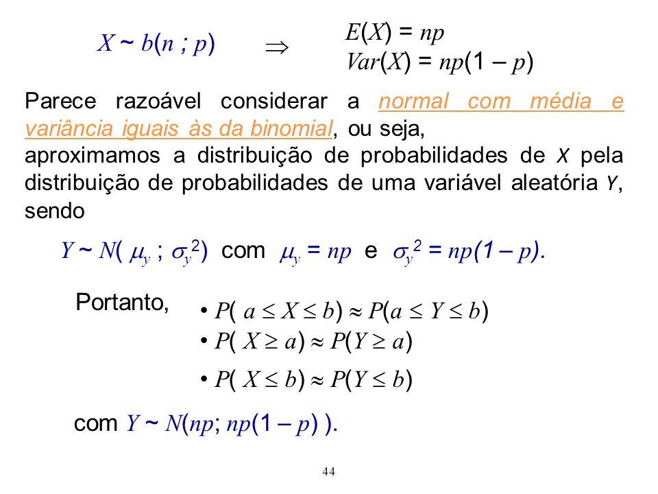 44 com Y ~ N ( np ; np (1 – p ) ). Portanto, P ( a X b ) P ( a Y b ) P ( X a ) P ( Y a ) P ( X b ) P ( Y b ) X ~ b ( n ; p ) E ( X ) = np Var ( X ) =
