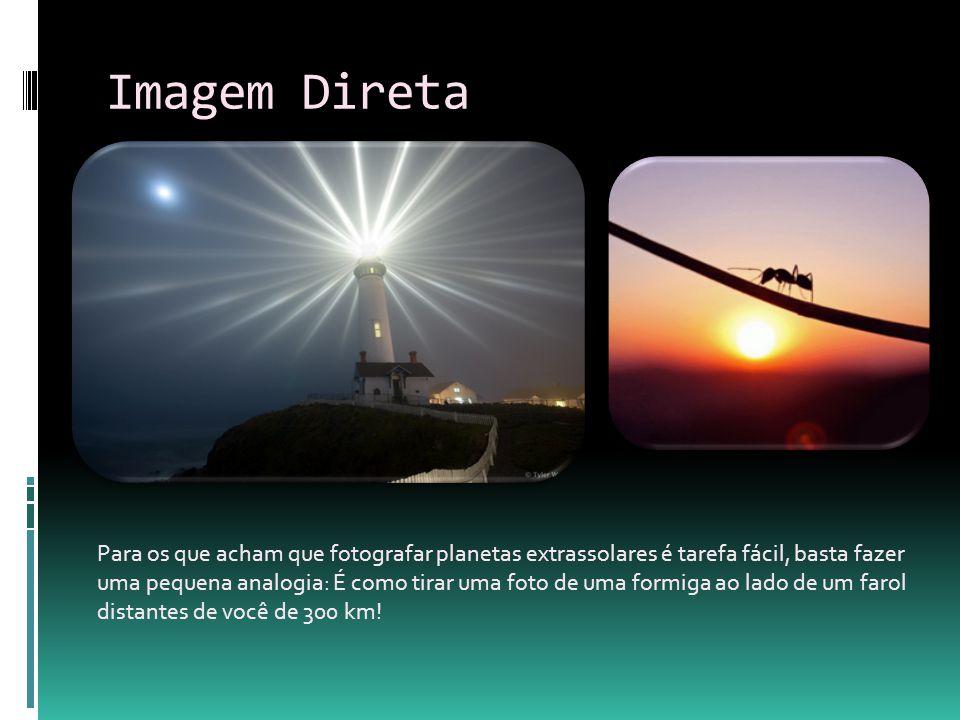 Imagem Direta Para os que acham que fotografar planetas extrassolares é tarefa fácil, basta fazer uma pequena analogia: É como tirar uma foto de uma f