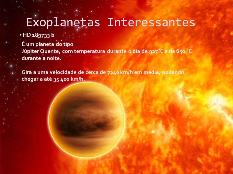 Exoplanetas Interessantes HD 189733 b É um planeta do tipo Júpiter Quente, com temperatura durante o dia de 927˚C e de 650 ˚C durante a noite. Gira a