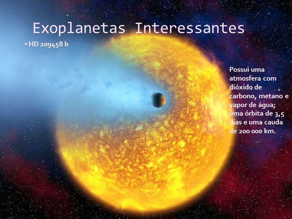 Exoplanetas Interessantes HD 209458 b Possui uma atmosfera com dióxido de carbono, metano e vapor de água; uma órbita de 3,5 dias e uma cauda de 200 0