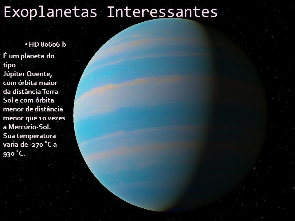 Exoplanetas Interessantes HD 80606 b É um planeta do tipo Júpiter Quente, com órbita maior da distância Terra- Sol e com órbita menor de distância men