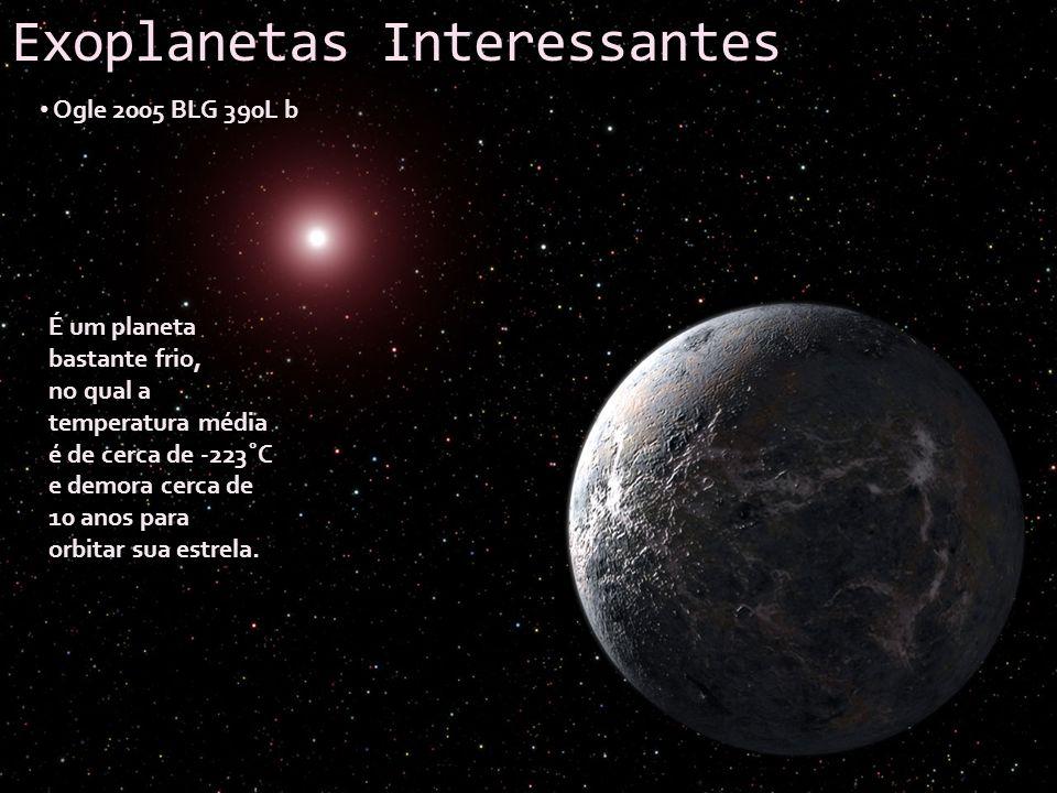 Exoplanetas Interessantes Ogle 2005 BLG 390L b É um planeta bastante frio, no qual a temperatura média é de cerca de -223˚C e demora cerca de 10 anos