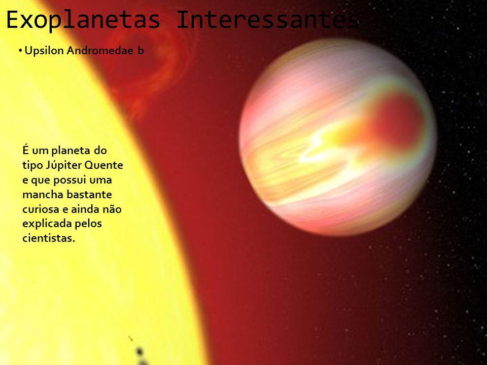 Exoplanetas Interessantes Upsilon Andromedae b É um planeta do tipo Júpiter Quente e que possui uma mancha bastante curiosa e ainda não explicada pelo