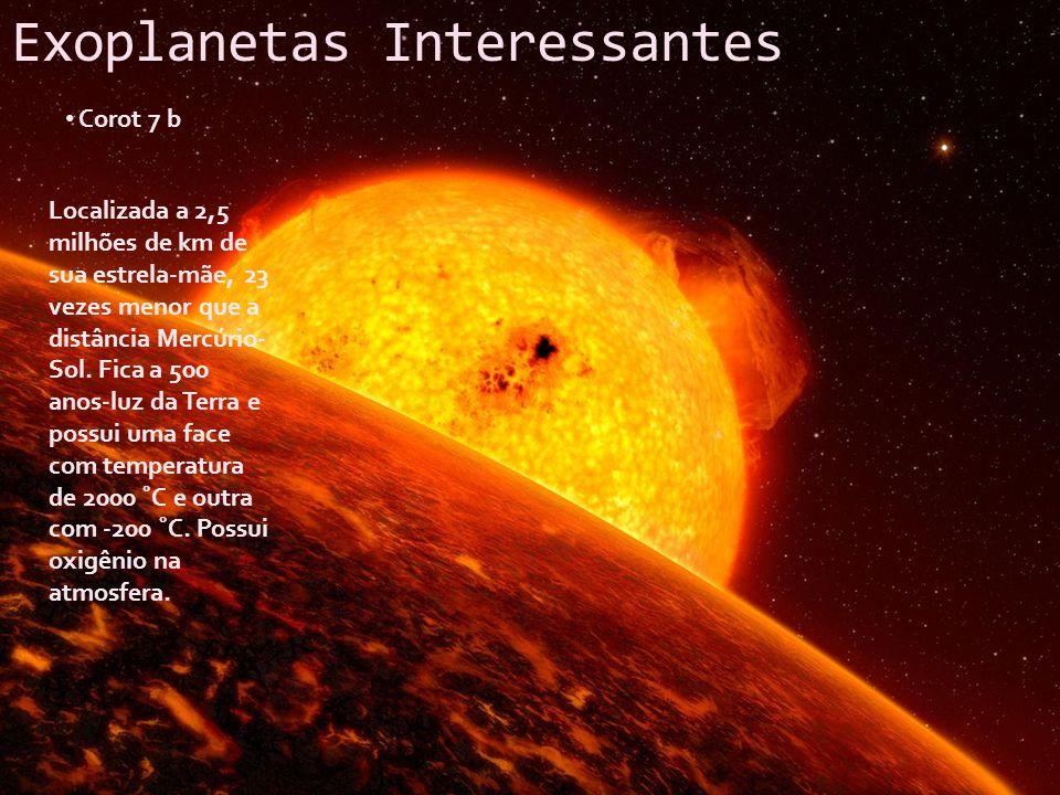 Exoplanetas Interessantes Corot 7 b Localizada a 2,5 milhões de km de sua estrela-mãe, 23 vezes menor que a distância Mercúrio- Sol. Fica a 500 anos-l