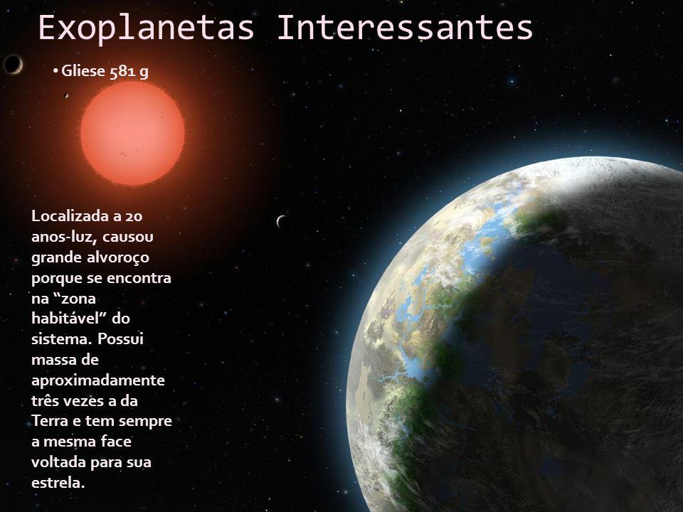 Exoplanetas Interessantes Gliese 581 g Localizada a 20 anos-luz, causou grande alvoroço porque se encontra na zona habitável do sistema. Possui massa