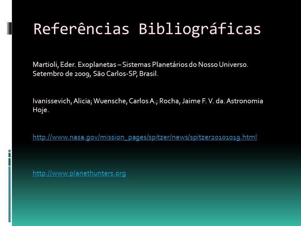 Referências Bibliográficas Martioli, Eder. Exoplanetas – Sistemas Planetários do Nosso Universo. Setembro de 2009, São Carlos-SP, Brasil. Ivanissevich