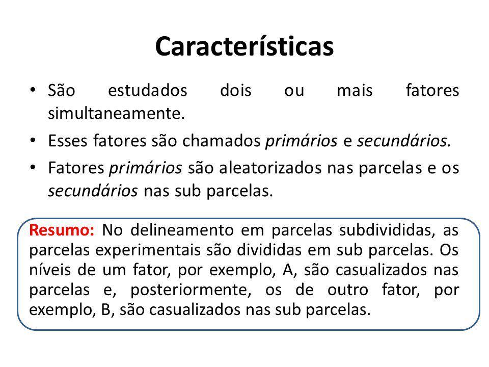 Características São estudados dois ou mais fatores simultaneamente. Esses fatores são chamados primários e secundários. Fatores primários são aleatori