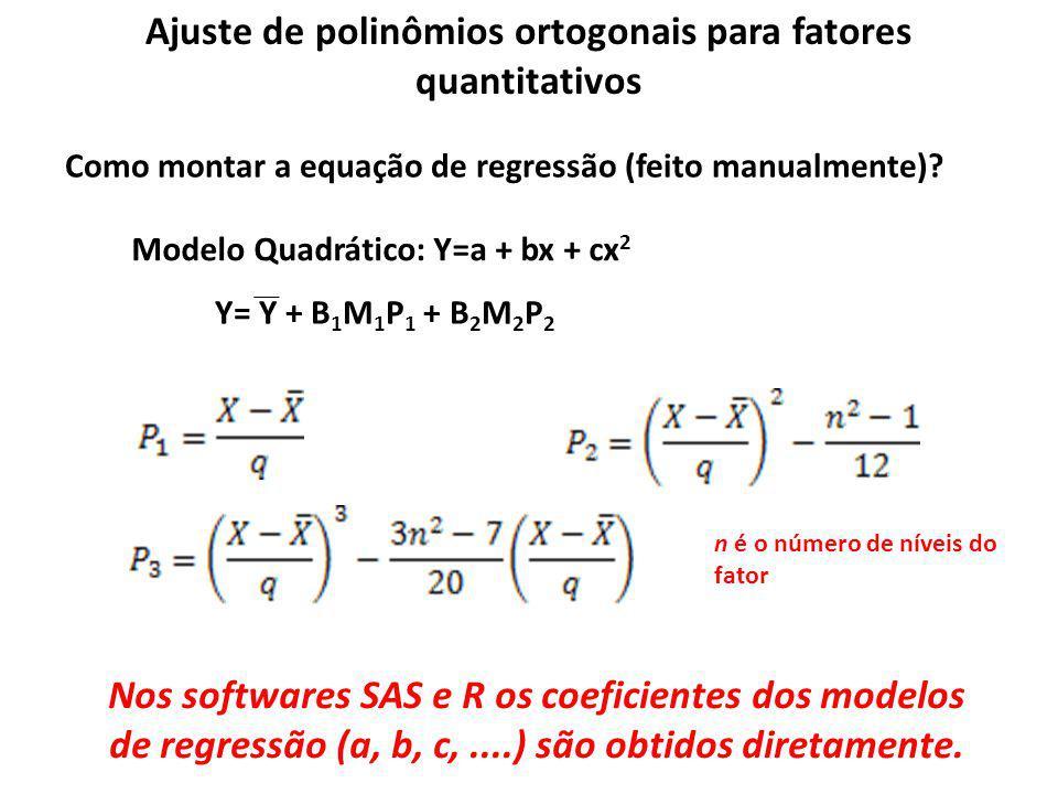 Ajuste de polinômios ortogonais para fatores quantitativos Como montar a equação de regressão (feito manualmente)? Modelo Quadrático: Y=a + bx + cx 2