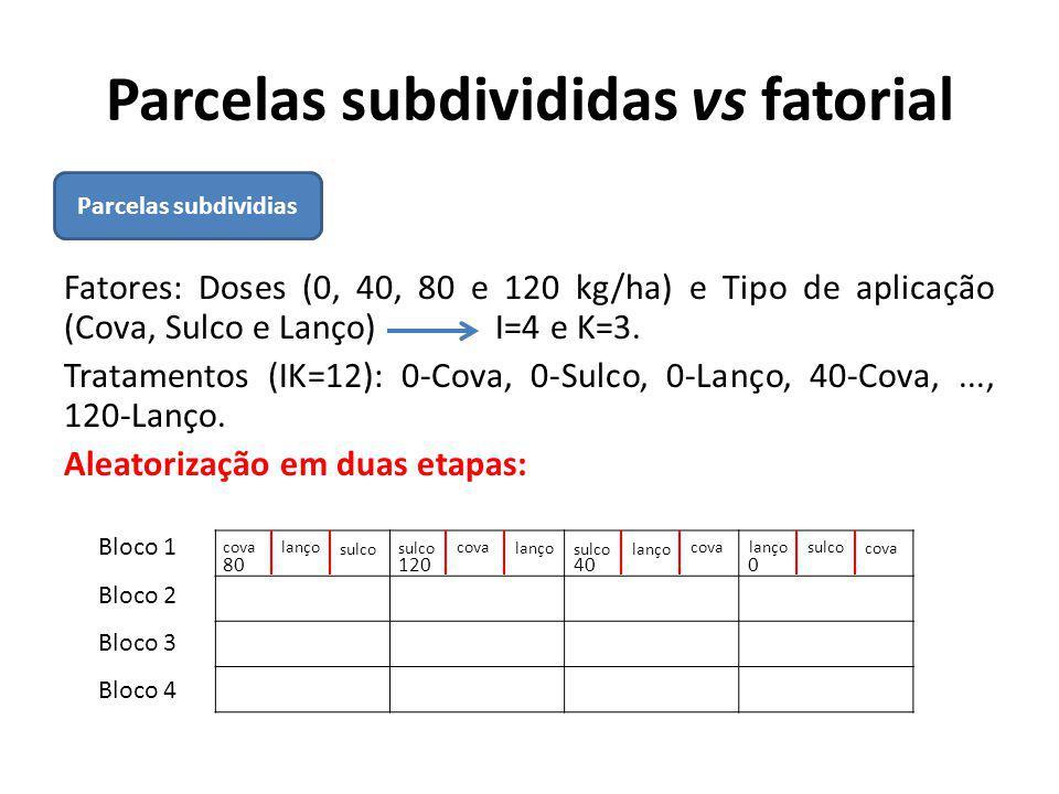 Parcelas subdivididas vs fatorial Fatores: Doses (0, 40, 80 e 120 kg/ha) e Tipo de aplicação (Cova, Sulco e Lanço) I=4 e K=3. Tratamentos (IK=12): 0-C