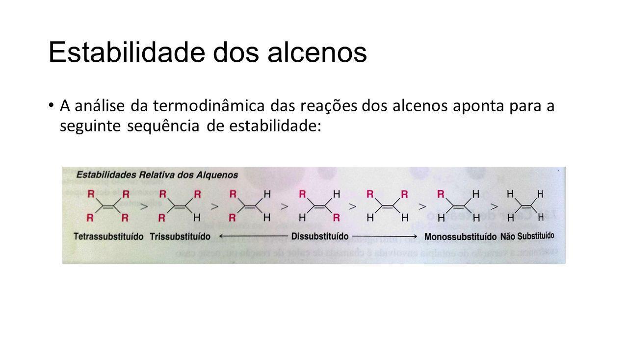 Estabilidade dos alcenos A análise da termodinâmica das reações dos alcenos aponta para a seguinte sequência de estabilidade: