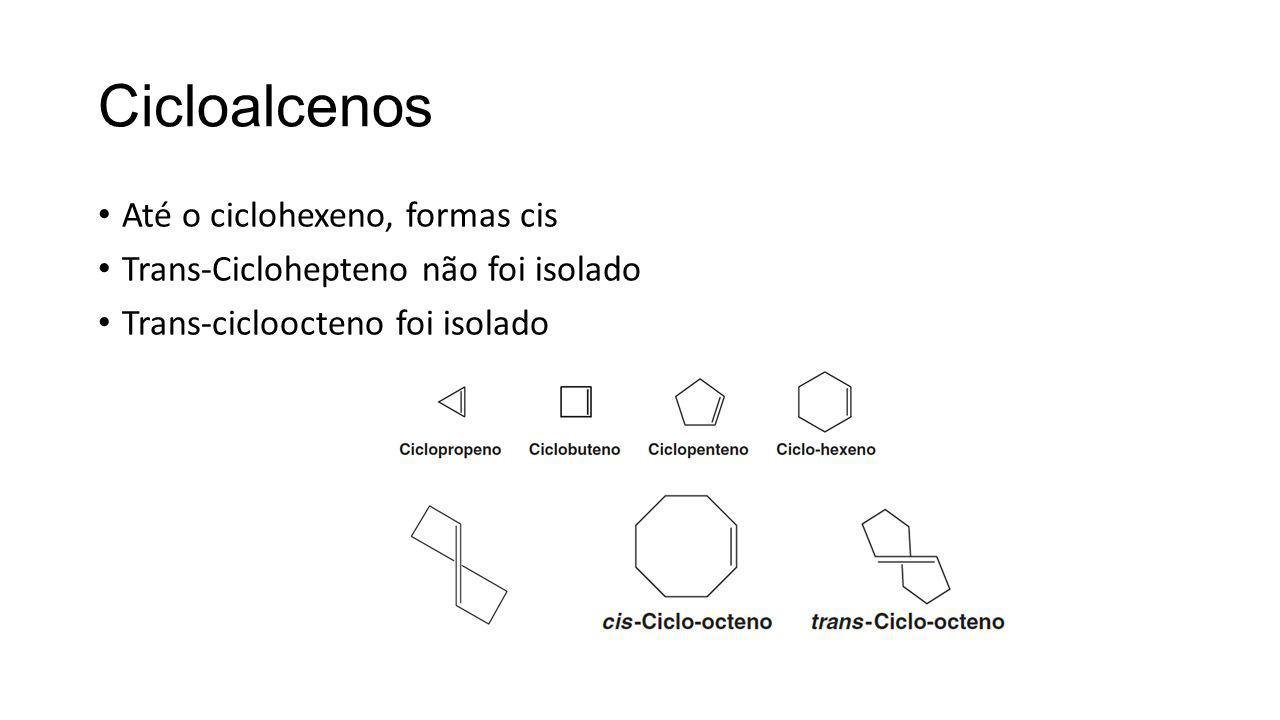 Cicloalcenos Até o ciclohexeno, formas cis Trans-Ciclohepteno não foi isolado Trans-cicloocteno foi isolado