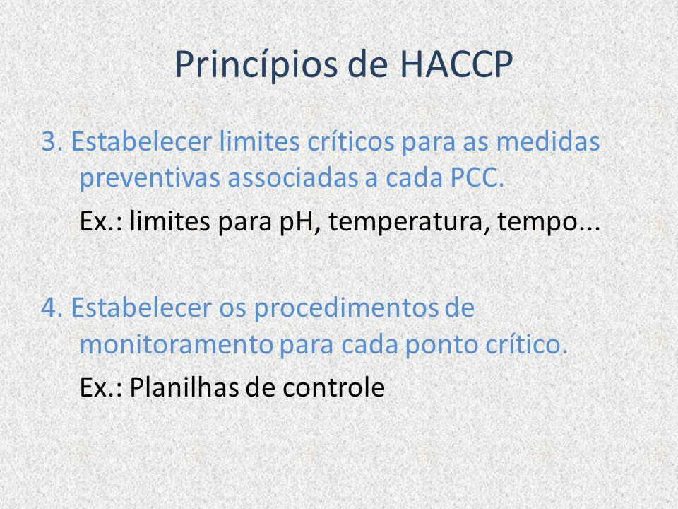 Princípios de HACCP 3. Estabelecer limites críticos para as medidas preventivas associadas a cada PCC. Ex.: limites para pH, temperatura, tempo... 4.