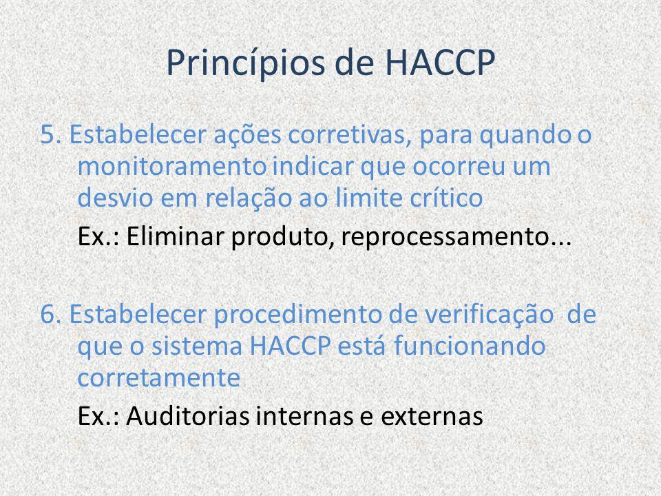 Princípios de HACCP 5. Estabelecer ações corretivas, para quando o monitoramento indicar que ocorreu um desvio em relação ao limite crítico Ex.: Elimi