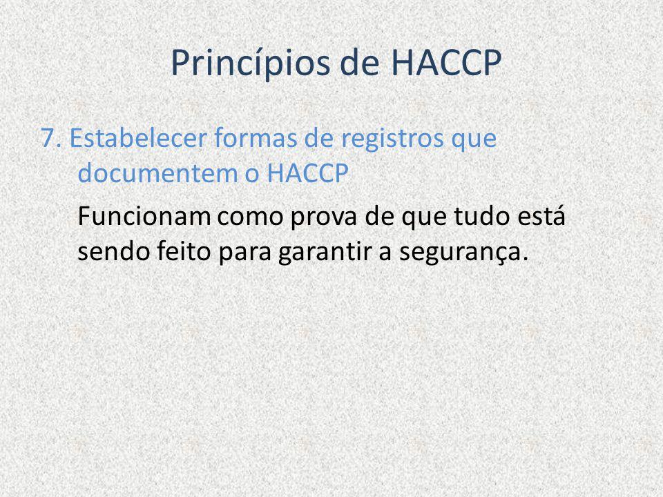 Princípios de HACCP 7. Estabelecer formas de registros que documentem o HACCP Funcionam como prova de que tudo está sendo feito para garantir a segura