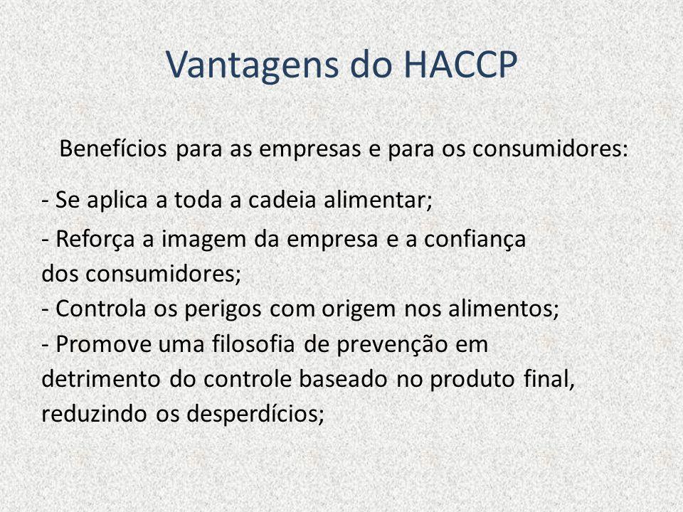 Vantagens do HACCP Benefícios para as empresas e para os consumidores: - Se aplica a toda a cadeia alimentar; - Reforça a imagem da empresa e a confia